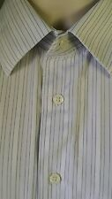 Pronto Uomo mens Dress Shirt 16 36/37 TALL White /Gray L/S button front Cotton