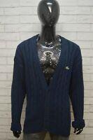 LACOSTE Uomo Taglia Forte Maglione Cotone Pullover Cardigan Sweater Man Blu