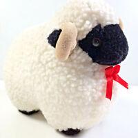 Vintage Sheep Soft Plush Toy Ram Curly Horns Black Face Boxy Shape Fleece Elgate