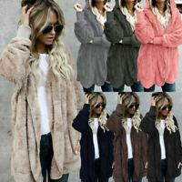 Hooded Coat Outwear Cardigan Jacket Sleeve Women Long Sweater Knit Parka Fluffy
