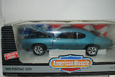 1:18 Ertl - 1969 Pontiac GTO turquoise/bleu RARE - neuf/emballage d'origine