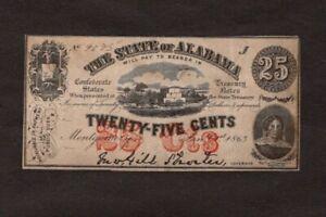 1863 25 Cent State of Alabama Confederate Treasury Note, High-Grade, NICE!!