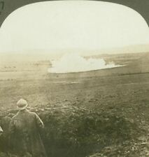 French Mine Explosion Under Enemy Trenches - WW1 Stereoview