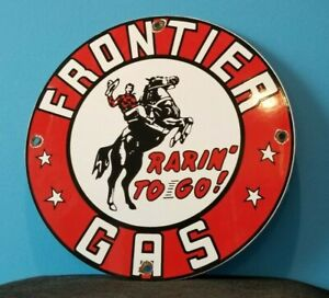 VINTAGE FRONTIER GASOLINE PORCELAIN COWBOY HORSE SERVICE STATION PUMP RACK SIGN