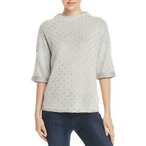 Nic + Zoe Womens Gray Embellished Funnel Neck Pullover Sweater Top XL  7694