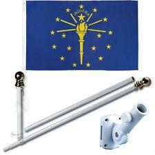 Indiana 3 x 5 Ft Flag Set w/ 6-Ft Spinning Flag Pole + Bracket (Tangle Free)
