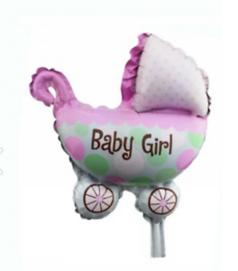 Pink Foil Balloon - It's a Girl Pram for Baby Party