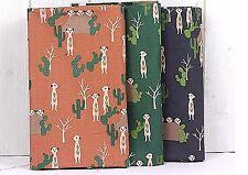 Desert Meerkat 100% Cotton Fabric Green Animal Cactus Quilting offcuts JC8/49*