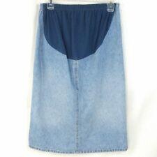 Maternity Denim Jean Skirt Stretch Belly Band Light Blue Boho Back Pockets