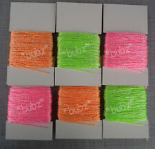 SIX PACK NEON EMBROIDERY SKEINS CARDS CROSS STITCH COTTON CRAFT BRAIDING PINK