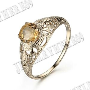Fashion Solid 10K Yellow Gold 6MM ROUND CUT Citrine ENGAGEMENT VINTAGE RING