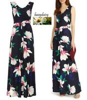 Phase Eight ladies navy blue jersey magnolia print maxi dress 8 10 12 14 summer