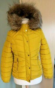 Ladies Womens Puffa Padded  Winter Jacket  Coat Fur Hood  Mustard Size 8 Lovely