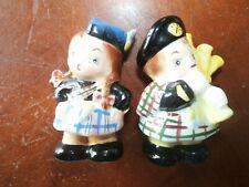 Vintage PY Japan Scottish Porcelain Ceramic Salt Pepper Shakers Bagpiper