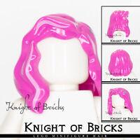 LEGO Minifigure Hair DARK PINK 85974pb07 Female Girl Mid-Length w Silver Star