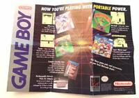 "Nintendo GameBoy One-Sided Promo Poster 1989 Rare 12"" x 8.5"" Vintage"