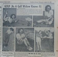 1941 newspaper photo feature - Golf As A Golf Widow Knows It, comic take on golf