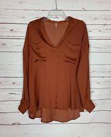 Free People Women's S Small Rust Burnt Orange Long Sleeve Cute Tunic Top Blouse
