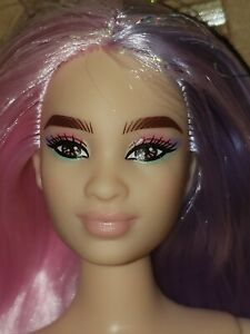 Barbie Extra #2 Doll Pink Purple Long Hair Articulated Curvy NUDE New