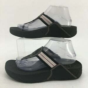 FitFlop Thong Wedge Flip Flops Sandals Womens 9 Black Stripe Casual Toe-Post