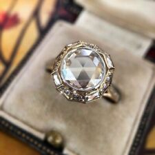 925 Sterling Silver 3 CT Brilliant Round Moissanite Vintage Best Engagement Ring
