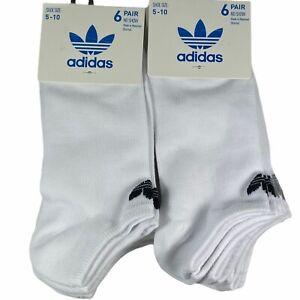 NEW 12 Pairs Adidas Womens No Show Socks White Shoe Size 5-10 Moisture Wicking