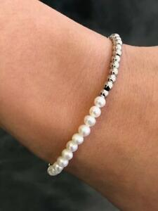 Stainless Steel Bead Half Pearl Design Stretch Bracelet Stackable Gift