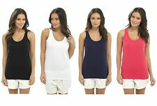 Womens Jersey Cotton Vest Top Strappy Summer T Shirt Sleeveless Vests Girls Size