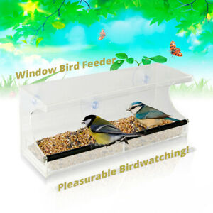 Window Bird Feeder - See-Through Acrylic - Clear, Removable Slide Out Tray