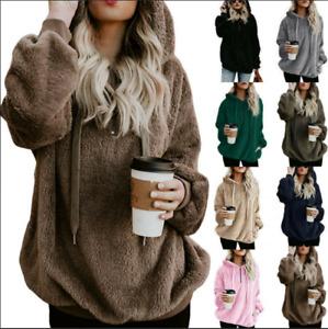 Damen Kapuzenpullover Teddy Damenjacke Pullis Hoodie Winter Warm Fleece Sweater