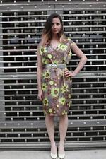 50er Kleid Tageskleid Cocktailkleid Gr. 36 Oliv Braun Blumen True VINTAGE 60er