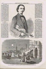 Jean Becker, Violinist & Stage Play Scene  -1860 Illustrated London News