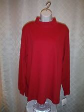 Women's Size plus Mock neck 3X,2X,1X,Croft & Barrow 100% cotton Red,White Dot