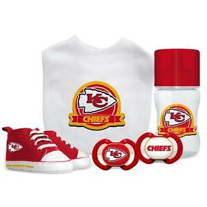 Kansas City Chiefs Baby Set - Bottle Bib Pacifier Shoes Licensed NFL BPA Free