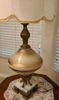 "Vtg Large 30"" MCM/Hollywood Regency Brass/Marble/Glass Table Lamp (1)"