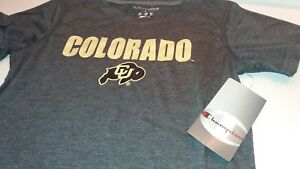 Champion NCAA Colorado Buffaloes GU Girls Short Sleeve Tee Shirt Size Large Gray