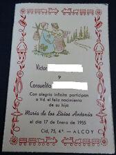 ESTAMPA HOLY CARD RECORDATORIO NACIMIENTO DE UNA HIJA  AÑO 1955 SANTINI   CC1478