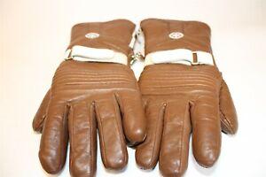 Yamaha Vintage Japan Made Mens Medium Brown Leather Motorcycle Winter Gloves