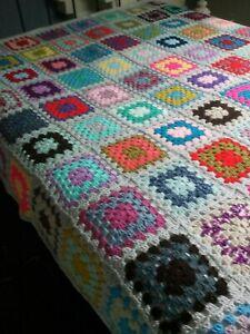 Extra Large Vintage Style Handmade Crochet Granny Square Blanket/Throw