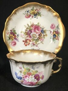Vintage Hammersley Lady Patricia Heavy Gold Trim Handle Cup Saucer England