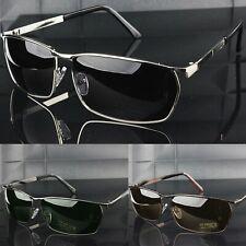 Polarised Sunglasses Rectangular Metal Frame UV400 Mens Outdoor Sports