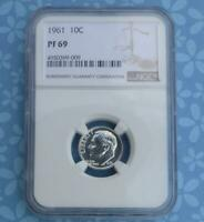1961 NGC PF 69 Roosevelt Silver Dime, Gem Proof 69 Silver 10C Coin, Top Grade