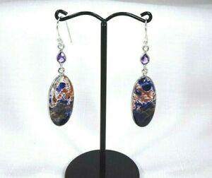 Natural Sodalite & Purple Amethyst Solid Sterling Silver Fishhook Earrings