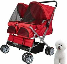 Stroller for Dog Cat Small Animal Folding Walk Jogger Travel Carrier Cart, Red
