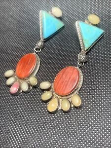 NAVAJO ORANGE SPINY OYSTER TURQUOISE Sterling big Statement Earrings MILTON LEE