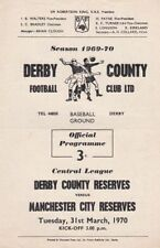 Derby County Football Reserve Fixture Programmes (1970s)