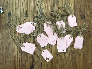 100 Pink Butterfly Tags. Wedding. Baby Shower. Gift Tags. Wishing Tree. Confett