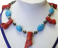 Red coral with turquise ,green pearls ,hematite beads 18in