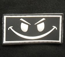 3D GLOW RUBBER PVC EVIL SMILEY FACE HALLOWEEN SWAT VELCRO® FASTENER PATCH