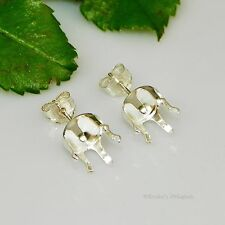 10mm Round Snap Tite Sterling Silver Earring Settings (6 Prong)